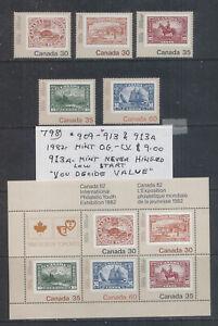 Canada #909-913 & #913A Mint O.G. CV $9.00