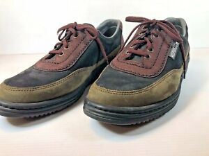 MEPHISTO SZ 5 US OLIVE GREEN & BLACK SUEDE & LEATHER TRAVELS LACE UP SHOES