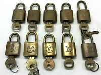 GENUINE LOUIS VUITTON PadLock Lock & Key 10 Piece Bags Brass Gold 0625012LV