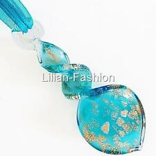Gold Aqua Swirl Handmade Lampwork Glass Murano Bead Pendant Ribbon Cord Necklace