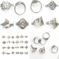 50pcs Wholesale Lots Women Men Mixed Silver Tone Rings Tibet Vintage Jewelry