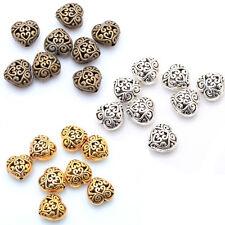 20pcs Antique Silver/Golden/Bronze Color Metal Heart Hollow Spacer Beads14mm