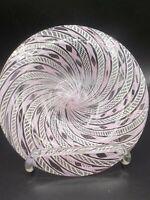 """Latticino Venetian Pink & White Murano Ribbon Art Glass Bowl 7.25"""" Exc Italy"""