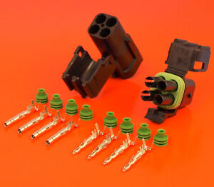 Genuine 4 Way / Pin Male & Female Delphi Weatherpack Series Connector Kit