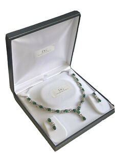 White gold finish green emerald and created diamond Necklace Earrings Giftboxed