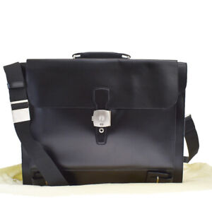 Authentic Dunhill XL Business Case 2Way Hand Bag Leather Black France 64BQ768