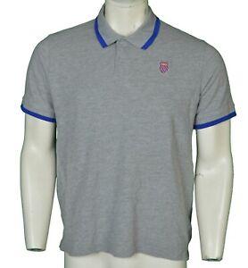 K-Swiss Grey Cotton Polo Shirt Men's Size L Large