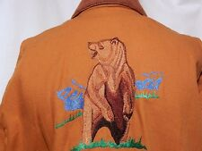 Brown Grizzly Bear Wildlife Embroidered Bomber Hipster Jacket Corduroy Collar L