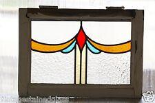 Antique Stained Glass Window Four (4) Color Art Nouveau Tulip             (2811)