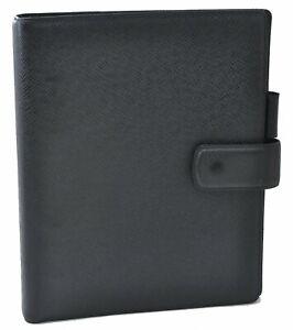 Authentic Louis Vuitton Taiga Agenda GM Day Planner Cover Black R20232 LV D4740