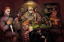 """Slashers Playing Poker Art Poster ** Myers Vs Jason 36"""" x 24""""  FREE USA SHIPPING"""