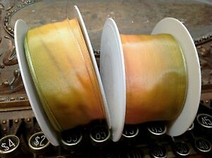 """Vintage Ribbon Rayon Acetate 1.5-2"""" Apricot Green Ombre 1yd Made in France"""