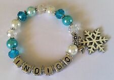 Personalised Name - FROZEN Inspired Bracelet w/ Snowflake Charm Party Favor