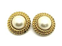 Ciner Vintage Faux Pearl Gold Tone Clip-on High-end Fashion Earrings 1116-60