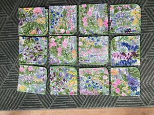 Vintage 12 Cloth Monet Like Flowers Serviettes Napkins Bright Summer Exc Conditn