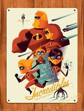 """TIN SIGN """"The Incredibles"""" Disney Art Painting Ride Poster"""