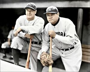 Babe Ruth Lou Gehrig Photo 8X10 - New York Yankees COLORIZED