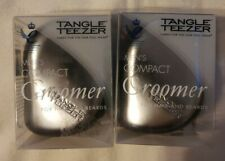 Tangle Teezer Compact Groomer Detangling Hairbrush-Black-Silver for Unisex- 2 PC