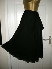 12 VERY BLACK CHIFFON SKIRT MIDI  FAUX WRAP WATERFALL  HIPPIE BOHO GYPSY SUMMER