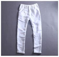 Men's Elasticated Waist Long Casual Linen Cotton Trousers Pants Plus Size NICE