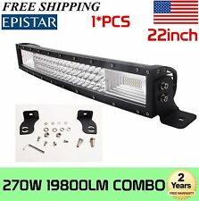 "7D+22Inch 270W Curved Tri Row Led Light Bar Spot Flood Combo UTE ATV 20"" 23"" 21"""