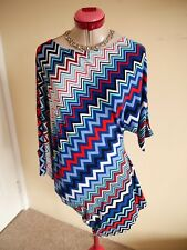 WORSHIP White Red Black TOP Size 14 BNWT NEW Unique Shape Geo Print Blue Batwing