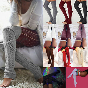 Womens Knit Over Knee Thigh High Leg Warmers Winter Long Boot Socks Stocking Hot