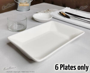British Airways Rectangle Plates White deep Plates made for First Class - 6 pcs