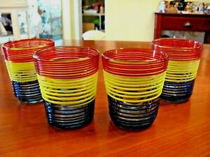 """UNIQUE 4 BLOWN GLASS TRI-COLOR RINGED 4"""" WHISKEY DRINKING BARWARE GLASSES EXC"""