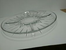 "Vintage 12"" Round Clear Cut Glass Sectioned Platter."