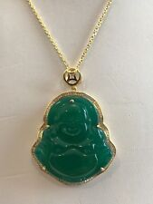 BUDDHA NECKLACE PENDANT W/ LAB DIAMONDS & GREEN JADE / 925 STERLING SILVER