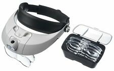 2 LED ADJUSTABLE HEADBAND JEWELER MAGNIFIER WITH 5 LENSES-1X,1.5X,2X,2.5X,3.5X