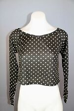 BNWT Free fusion Womens size xs black and beige polka dot crop top shirt