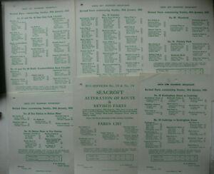 6 Leeds City Transport Bus Revised Fares Leaflets 1955 (Set 2)