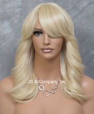 Human Hair Blend Wig HEAT SAFE Soft Wavy Layered Feathered Pale Blonde ol 613