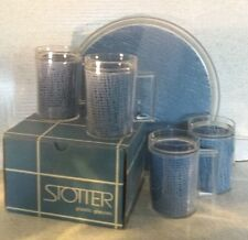 Vintage STOTTER Plastic Insulated Tankards & Round Tray BLUE LINER Glasses MUGS