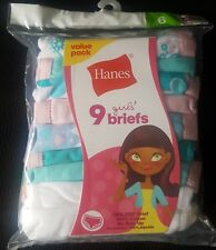 Girl's Tagless 100% Cotton Briefs Value Pack of 9 in Size 6 by Hanes New