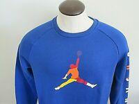 Nike Mens Jordan DNA HBR Fleece Crew Neck Pullover Sweatshirt Blue Size XXL NWT