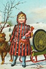 1885 Willimantic Linen Co. Sewing Thread, Winter Sleigh Girl Dog Doll C2