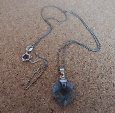 Sterling silver Necklace Blues Glass Crystal Heart 18 inch Fine curb Chain