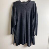 Eskandar Women's One Size Silk Linen 3/4 Sleeve Gray Sweater Tunic