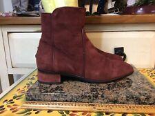 Aquatalia By Marvin K. Suede Ankle zip  Boot Burgundy Women Sz 6.5