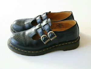 Dr. Martens Women's Black Leather Double Strap Mary Janes Shoes UK 6, US 8 Rare!