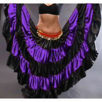 PURPLE Satin Gypsy Skirt 5 Tier 32 Yard Belly Dance Tribal Costume Ethnic Jupe