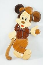Vintage Disney Mickey Mouse Golfer Wall Decoration Wood Intarsia Marquetry