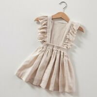USA Toddler Kids Girl Cotton Linen Summer Sleeveless Sundress A-line Tank Dress