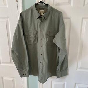 Cabela's Outdoor Hiking Fishing Green Long Sleeve Button Front Shirt Size XL