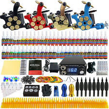 Complete Tattoo Machine Kit 4 Pro Guns Power Supply 54 Inks Needle Grips Tips