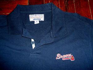 Atlanta Braves Embroidered Starter Polo Shirt Size Medium Navy Blue Tomahawk MLB