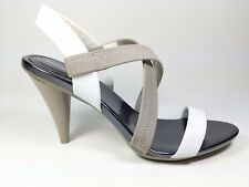 M & S Autograph Grey White Leather High Heel Strappy Shoes unworn Uk 5.5